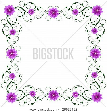 Delicate frame with mallows isolated on white background for greeting card or invitation design.