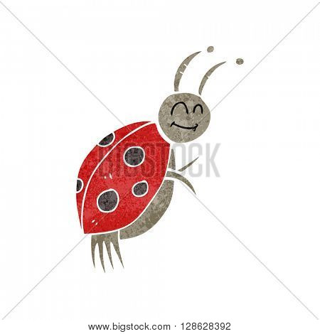 freehand retro cartoon ladybug
