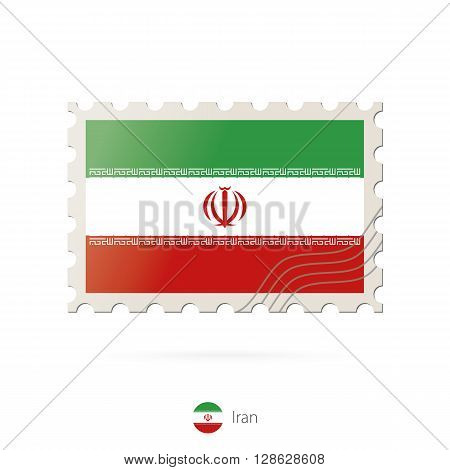 Postage Stamp With The Image Of Iran Flag.