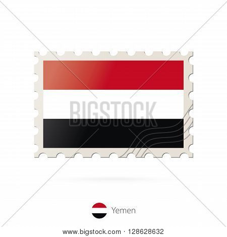 Postage Stamp With The Image Of Yemen Flag.
