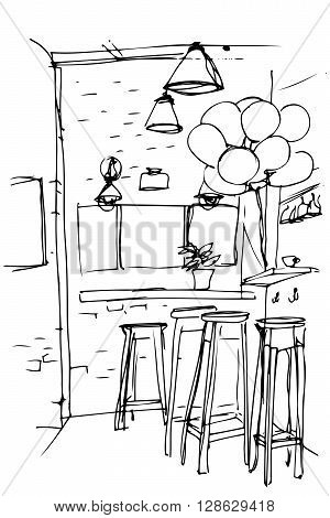 black and white vector sketch of the high stools in the kitchen
