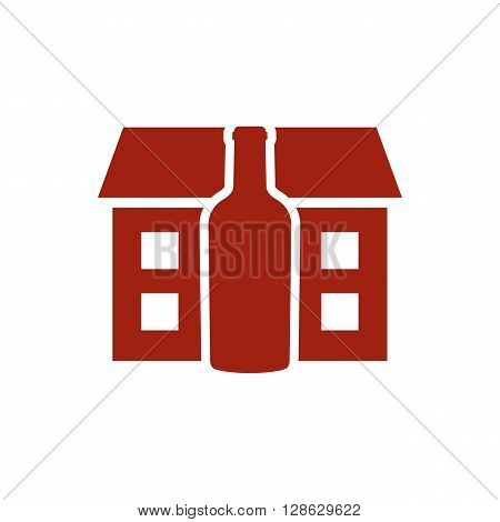 Red distillery house with the red bottle vector illustration isolated o