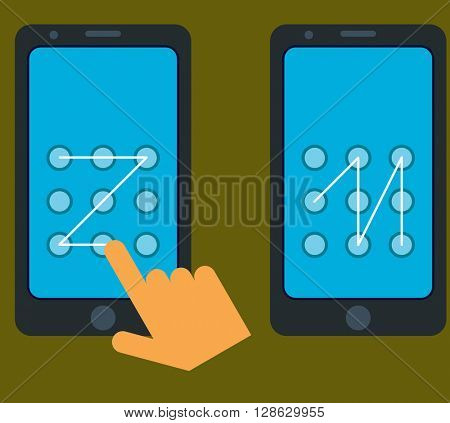 Smartphone Unlock Pattern Gesture raster Illustration
