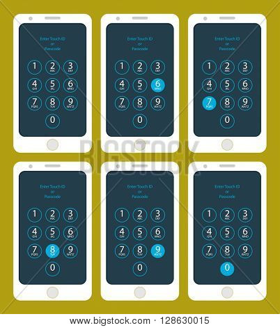 Smartphone Enter Touch ID or Passcode Six,  Seven,  Eight,  Nine,  Zero,  raster Illustration