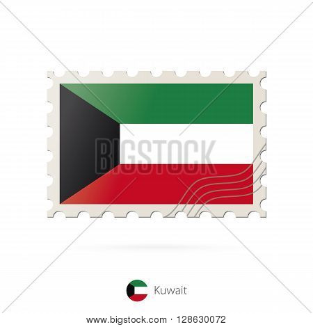 Postage Stamp With The Image Of Kuwait Flag.