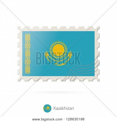 Postage Stamp With The Image Of Kazakhstan Flag.