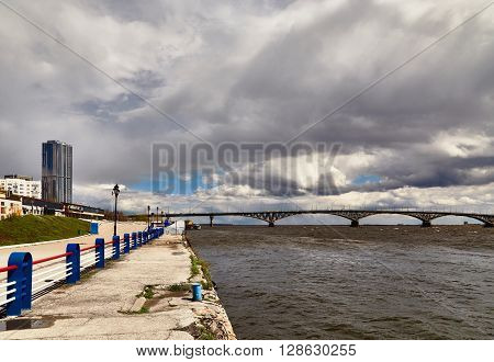 The bridge through the river Volga and a fragment of the embankment ** Note: Visible grain at 100%, best at smaller sizes