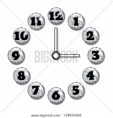 Clock face with volume silver glitter glass buttons.Template for your design.