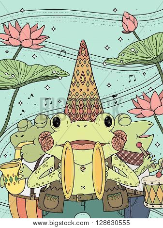 adult coloring page - frogs music band with lotus