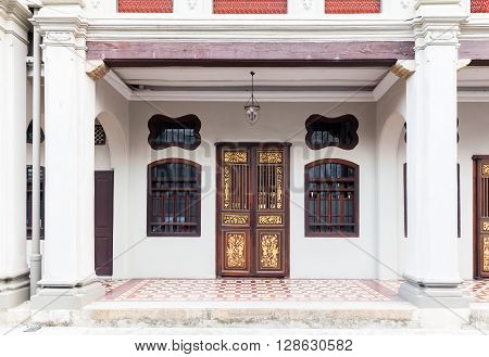 GEORGE TOWN MALAYSIA - MARCH 22: Facade of the old historial shophouse on March 22 2016 in George Town Malaysia.