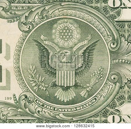 Us One Dollar Bill, Close Up, Seal Usa
