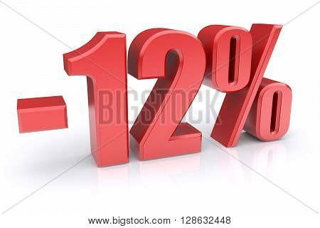 12% discount icon on a white background. 3d rendered image