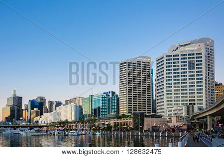 Sydney Australia - September 14 2012: Modern buildings in the Sydney CBD Darling Harbor. Sydney is the state capital of New South Wales.