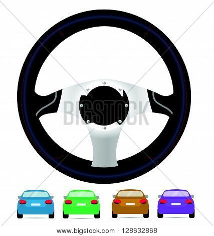 Realistic steering wheel and set of back of cars in vector on white background.