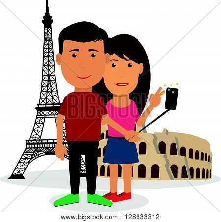 Young couple man and woman are making travel self-portrait in front of Eiffel Tower Coliseum. Vector in flat style