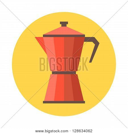vector coffee moka pot, flat design on yellow circle background