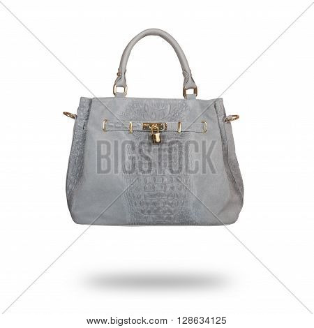 gray leather ladies handbag isolated on white