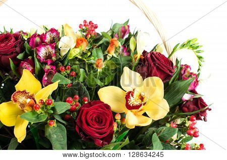 Orchid flowers, hypericum and Alstroemeria, isolated on white background