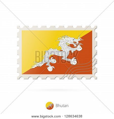 Postage Stamp With The Image Of Bhutan Flag.