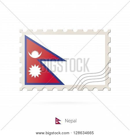 Postage Stamp With The Image Of Nepal Flag.
