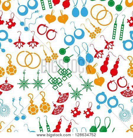 Various Color Ladies Earrings Types Seamless Pattern Eps10