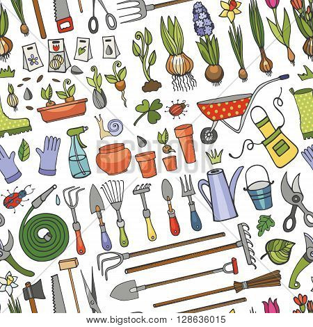 Spring garden seamless pattern.Hand drawn vector sketch elements flowers, bulbos, garden tool, bugs, boarding equipment.Gardening icon background, spring symbols, vintage vector ornament