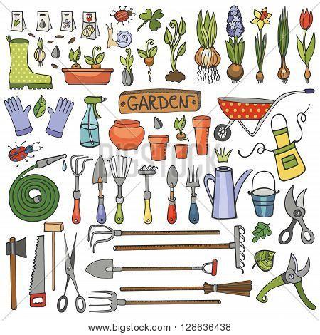 Spring garden set.Hand drawn vector sketch elements flowers, bulbos, garden tool, bugs, boarding equipment.Gardening isolated icon set, spring symbols, vintage vector elements