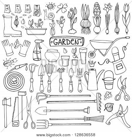 Spring garden set.Hand drawn vector sketch elements flowers, bulbos, garden tool, bugs, boarding equipment.Gardening isolated icon set, spring symbols, vintage vector Outline elements
