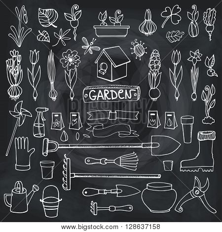 Spring garden set.Hand drawn flowers, bulb, garden tool, boarding equipment.Vector garden sketch elements.Spring Gardening isolated icon set, planting spring symbols, seedlings.Vintage chalkboard