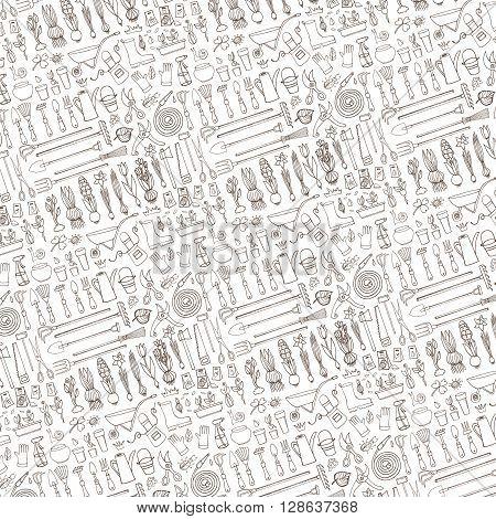 Spring garden pattern backdrop, linear background.Hand drawn vector sketch elements flowers, bulbos, garden tool, boarding equipment.Gardening Outline icon background, spring symbols, vintage vector