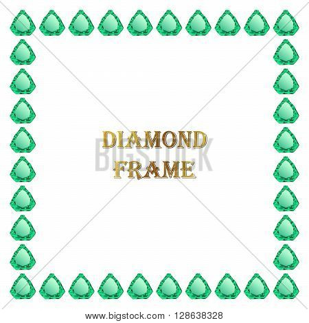 Emerald square frame. Vector jewerly background and place for your text. Abstract jewerly border