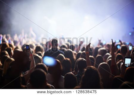 Crowd at the concert of popular singer