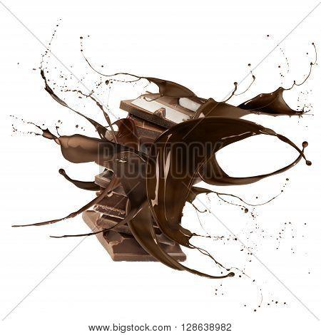 liquid splash chocolate around stack of chocolate blocks isolated on white