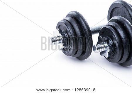 Black Dumbbells On White Background