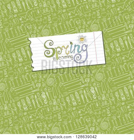 Spring is coming text, garden pattern backdrop, linear background.Hand drawn vector sketch elements flowers, bulbos, garden tool, boarding equipment, lettering.Gardening Outline spring symbols, vintage vector.