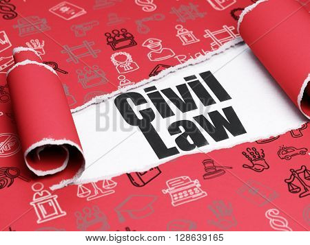 Law concept: black text Civil Law under the curled piece of Red torn paper with  Hand Drawn Law Icons, 3D rendering