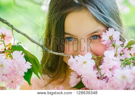 Cute Girl In Blossom
