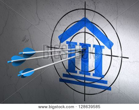 Success law concept: arrows hitting the center of Blue Courthouse target on wall background, 3D rendering
