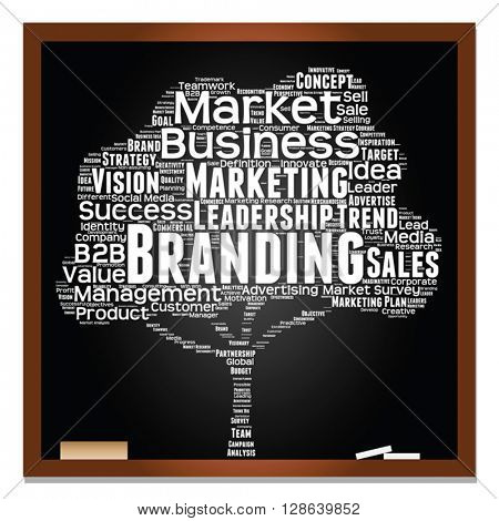 Vector concept or conceptual white tree on blackboard leadership marketing or business word cloud on black background wordcloud