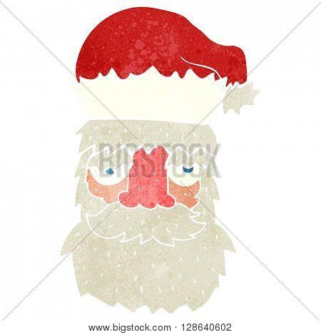 freehand retro cartoon tired santa claus face