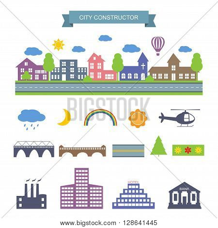 Landscape constructor icons set. City Skyline. Buildings houses, bridges, sun, moon, trees and architecture signs for map, game, texture. Design vector element isolated on white. road elements, city elements, weather icons