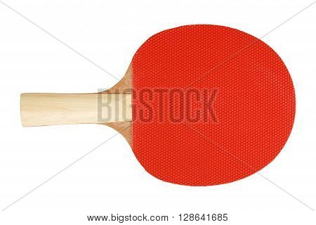 red ping pong racket isolated on white