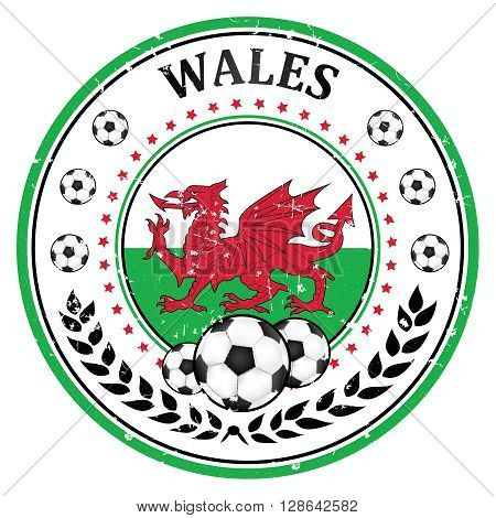 Printable Wales football team stamp / label. Wales football national team sign, containing a soccer ball and the Welsh flag. Print colors used