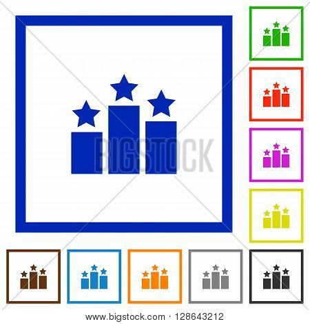 Set of color square framed ranking flat icons on white background