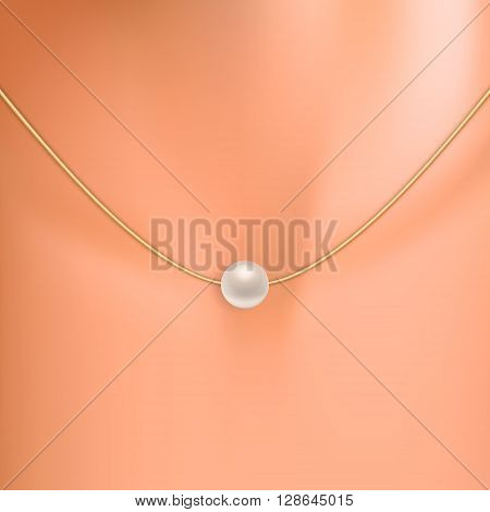 Pearl on the neck. Pearl on the neck background vector, pearl on the neck image, pearl on the neck template, pearl on the neck design. Vector EPS10 illustration.