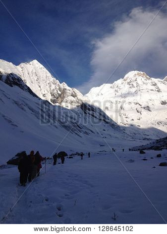 Annapurna Base Camp at the Annapurna South Mountain Himalayas Nepal