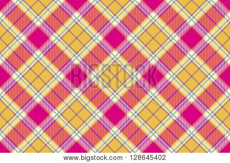 plaid indian madras fabric diagonal texture seamless background. Vector illustration. EPS 10. No transparency. No gradients.
