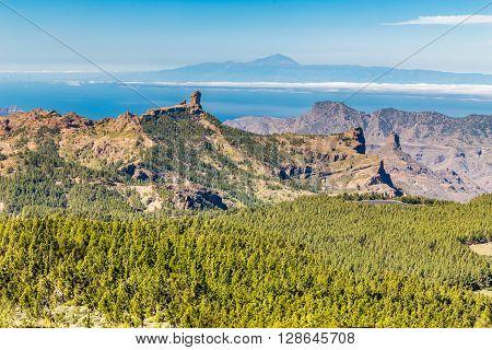 Scenic View Of Roque Nublo And El Teide - Tejeda Gran Canaria Canary Islands Spain