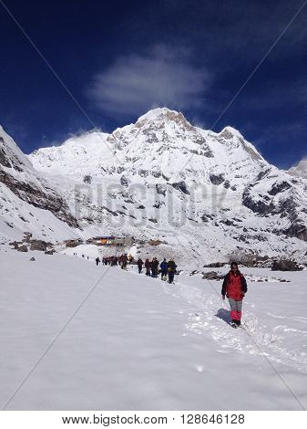 ANNAPURNA NEPAL - APR 12 : Unidentified trekkers are walking in the mountains. Nepal Himalayas Annapurna region on April 12 2013