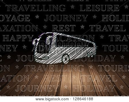Travel concept: Glowing Bus icon in grunge dark room with Wooden Floor, black background with  Tag Cloud